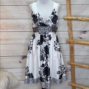 WHBM Silky Floral Beaded Dress 8
